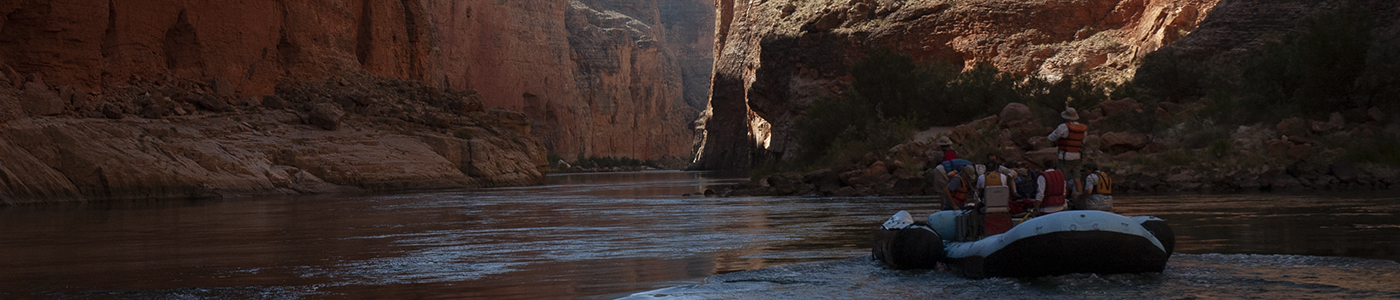 Rafting Grand Canyon during the evaluation of the Upper Colorado River Recovery Program.