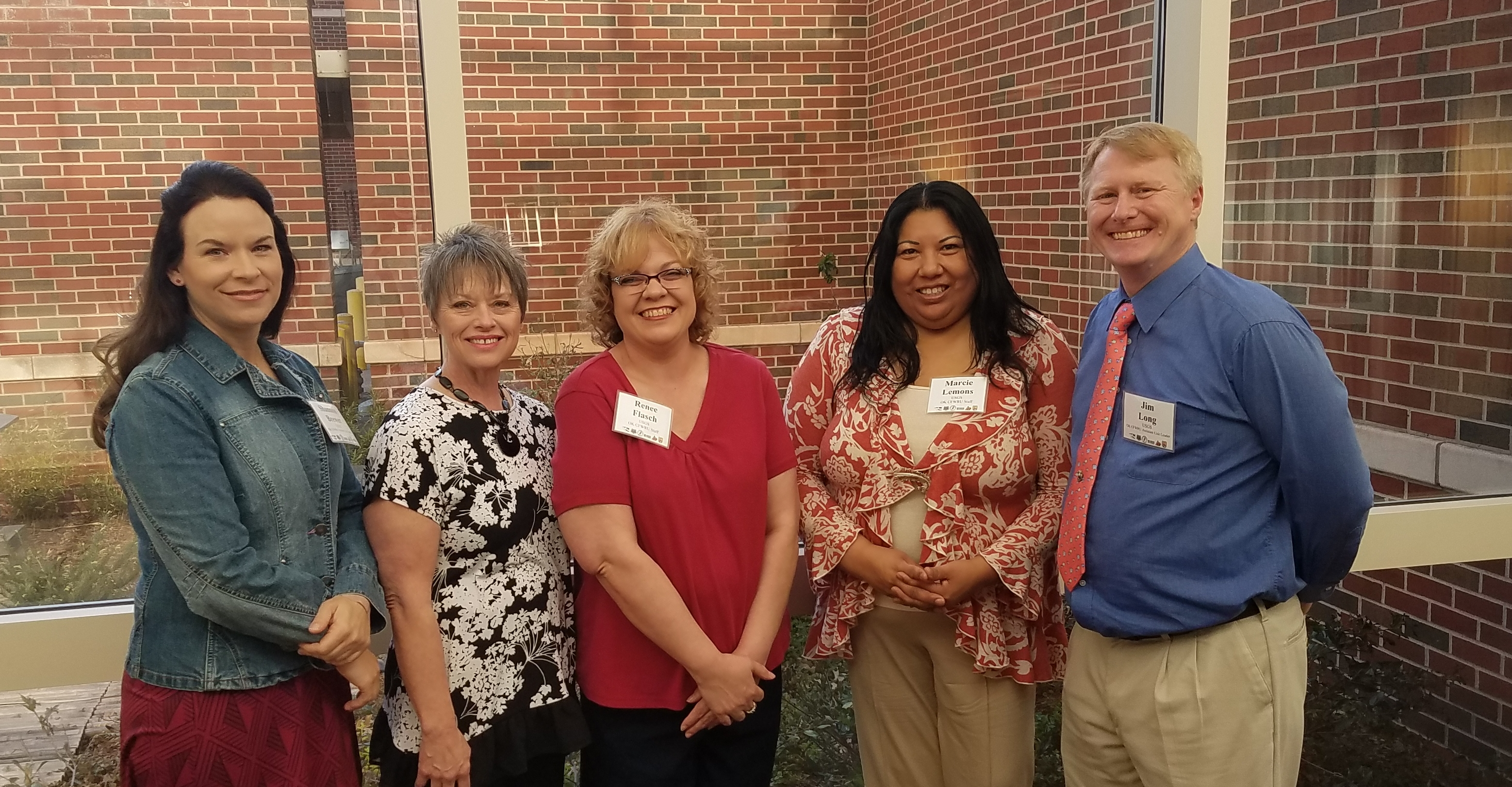 Oklahoma CFWRU staff: Shannon Brewer (AUL, Fisheries), Cheryl McKnight (Accounting Specialist), Renee Flasch (Administration Support Assistant), Marcie Lemons (Sr. Administrative Support Assistant), and Jim Long (Acting UL, Fisheries)