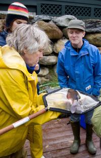 Donna Parrish teaching fish sampling workshop