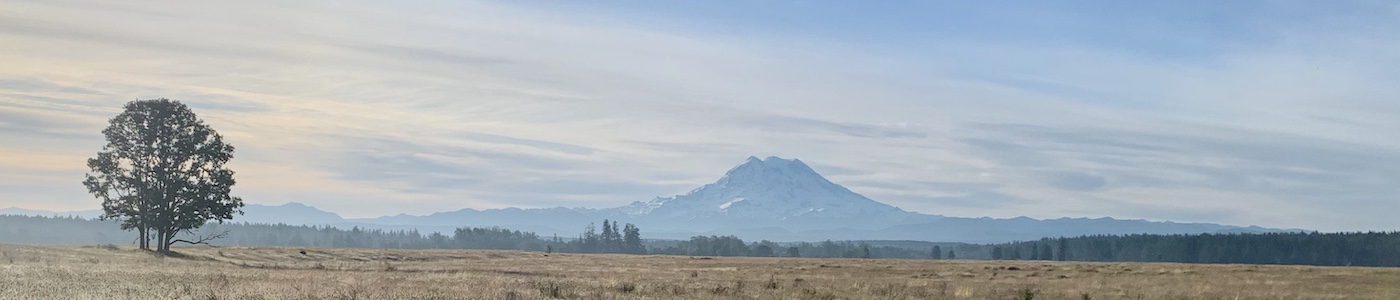 Mount Rainier looms over the oak-prairie habitat of 13th Division Prairie, Lewis County, Washington