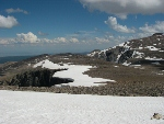 Ridgeline and snowfields above Lake Angeline, WY